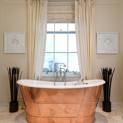 Coworth Park Copper bathroom interior Photography UK