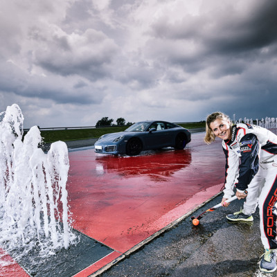 Georgie Twigg Hockey Porsche Sport swap Advertorial photography UK
